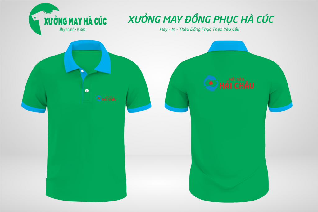 Mẫu áo đồng phục nhà hàng màu xanh