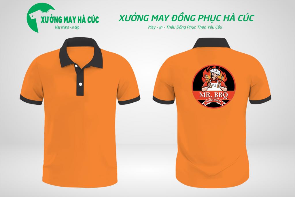 Mẫu áo đồng phục nhà hàng màu cam