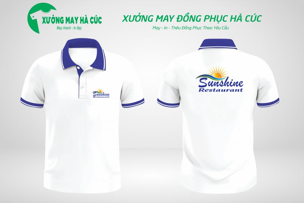 Mẫu áo đồng phục nhà hàng màu trắng